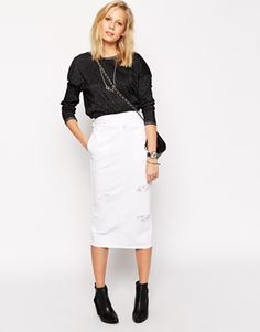 ASOS Denim High Waisted Midi Skirt With Rips in White