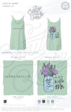 Alpha Delta Pi | ADPi | My My My Little ADPi | Mason Jar Design | Sorority Tee Shirt Inspiration | South by Sea | Sorority Shirts | Sorority Tanks | Greek Shirts