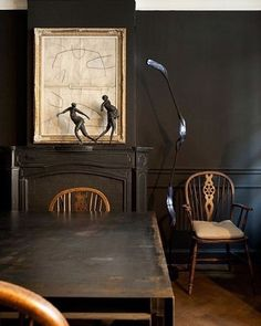 Black paint always catches my eye on Pinterest. Here mixed with wood it is perfect and calm #interiors #interiordesign #interior #styleitdark