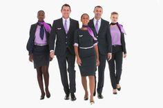 Pantalon tailleur, jupe sous le genoux et foulards lavande, c'est le choix de la compagnie Corsair qui a présenté ses nouveaux uniformes en juillet 2013.  ©  Corsair