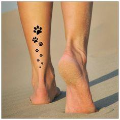 Paws Temporary Tattoo 2 Sets of Paw Tracks - Tattoo Small Dog Tattoos, Cat Paw Tattoos, Cute Foot Tattoos, Leg Tattoos, Body Art Tattoos, Tribal Tattoos, Cat Paw Print Tattoo, Tattoos Skull, Tatoos