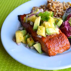 Chipotle Grilled Salmon with Pineapple Avocado Salsa - a sweet and spicy dry rubbed salmon, grilled and topped with the most delicious salsa. | @tasteLUVnourish