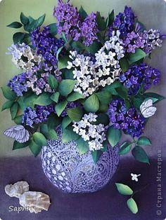 Картина панно рисунок Квиллинг СИРЕНЬ Бумага Бумажные полосы фото 1