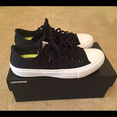 Converse Chuck Taylor All Star II Chuck Taylor All Star II. Black/white. Size 6-1/2. Runs true to size. Some soiling throughout bottom of sneaker. Otherwise still in great condition. Also comes with white shoe laces (white shoe laces have not been worn). Converse Shoes Sneakers