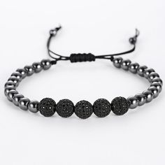 Anil Arjandas Men Bracelets,24K Gold Plated Round Steel Bead 8mm Micro Black Crystal Zircon Beads Braiding Macrame Bracelets Like if you are Excited! Visit our store