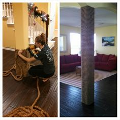 Boat rope wrapped column. Nautical