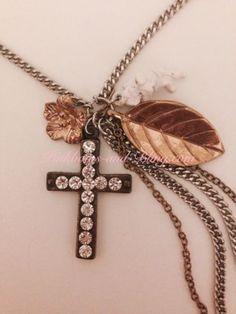 betsey johnson necklace Cross Christian Angel Cherub Leaf Rhinestone Heart Charm