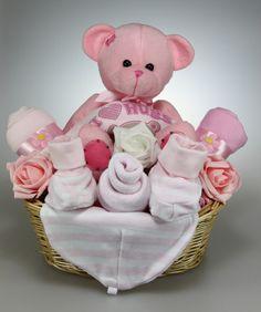 Handmade Newborn Baby Girl Gift Basket with Cute Teddy