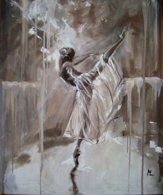 """Buy """" MAGIC OF BALLET """"- ballerina brown lihgt  ORIGINAL OIL PAINTING, GIFT, CHRISTMAS, Oil painting by Monika Luniak on Artfinder. Discover thousands of other original paintings, prints, sculptures and photography from independent artists."""