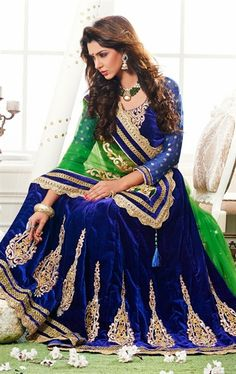 Picture of Appealing Mehendi Green and Dark Blue Wedding Saree Online
