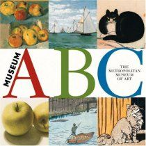 """:) Museum ABC by the Metropolitan Museum Of Art is a book that was first loved at our house because of the """"C is for Cat"""" page , an early interest of my sons. I loved it because for each letter there are 4 usually very cropped pieces of paintings, showing only that part that fits the subject of each letter. In my nerdy love of identifying paintings I play a game with myself trying to figure out which are which as my son is identifying the letter, and finding the subject matter in each."""