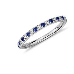 Pavé Sapphire and Diamond Ring in 14K White Gold | might be too much to have a wedding band in sapphire, too, but this is pretty