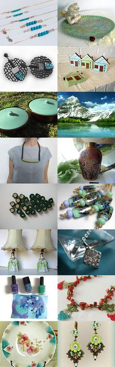 Turquoise and Green by Laura P. on Etsy--Pinned with TreasuryPin.com