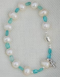 Freshwater Pearl and Apatite Rosary Bracelet