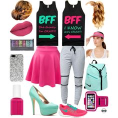 Happy Best Friends Day!!!!!! by blue-sparkly-sapphire on Polyvore featuring polyvore fashion style LA: Hearts NIKE Yves Saint Laurent Collection XIIX Boohoo Hershesons Essie