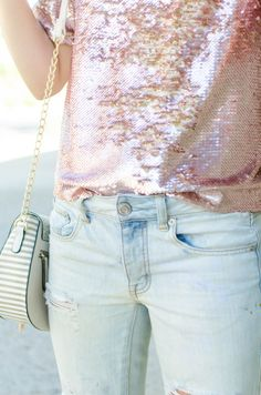 Sequin Top and Boyfriend Jeans