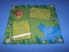 Zoo nursery wall art. Monkey and elephant by 1OfAKindCrafts