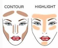 Know where to highlight and where to contour - Makeup Tutorial Over 40 Contouring Makeup, Eye Makeup Tips, Contouring And Highlighting, Makeup Tricks, Face Makeup, Makeup Ideas, Makeup Basics, Makeup Brushes, Best Highlighter Makeup