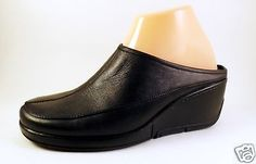 Liz-Claiborne-Size-7-5-Shoes-Womens-Wedge-Black-Leather-Wedge-VILLAGER-Mules