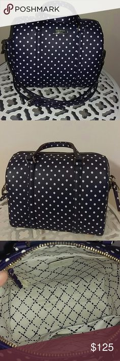 """Kate Spade Vinyl Mini Cassie Navy w white Dots Bag New bag purchased from ks online in 2015. Adjustable and detachable straps, gold color hardware, KS logo on front in gold, dot printed saffiano vinyl and beautiful black and white lining . Handle 4"""" drop, Strap 24"""" drop, 9""""L, 8""""H, 4.5"""" base, 8""""depth. Large open pocket in lining, zipper closure. Care tag included. No price tag, original factory bag and stuffing from online warehouse. kate spade Bags Crossbody Bags"""