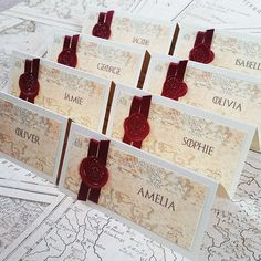 Game of Thrones Place Cards for weddings with wax seal, customised