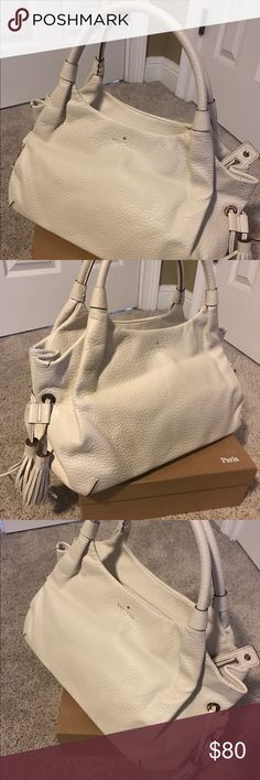 Kate Spade Handbag Off white leather white Kaye Spade Handbag with tassels. Gently used. kate spade Bags Shoulder Bags