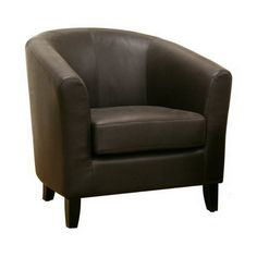 Baxton Studio Frederick Dark Brown Leather Club Chair