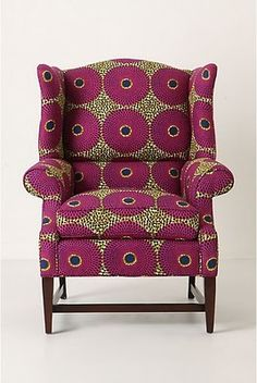 "African wax print: Josef Wingback Chair, Violet Orbs ""I love this beautiful chair"""
