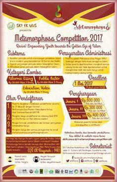#Metamorphosa8 #IslamicEssay #PublicPoster #EducationVideo #UNS #Surakarta Metamorphosa Competition 2017 Islamic Essay, Public Poster, Education Video Competition  DEADLINE: 1 Mei 2017  http://infosayembara.com/info-lomba.php?judul=metamorphosa-competition-2017-islamic-essay-public-poster-education-video-competition