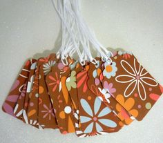 Set of 22 Prestrung --Gift Tags -- brown with flowers. $3.30, via Etsy.