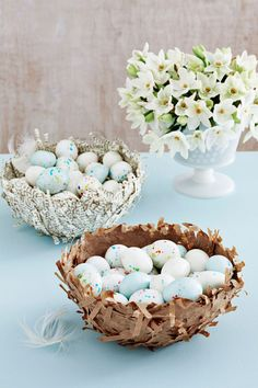 Take a page from the grade-school activity book with these delicate candy dishes, made using shredded brown lunch bags and sheets from an old dictionary. You can also use these nests to corral your decorated Easter eggs. Step 1: Tightly cover a small bowl with plastic wrap, then flip the bowl upside down on wax paper. In another container, mix equal parts water and clear glue. Step 2: Dip handfuls of shredded paper into the glue mixture, then immediately lay them on the bowl until it's…