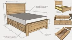 DIY Farmhouse Storage Bed With Storage Drawers  How to make ->http://www.goodshomedesign.com/diy-farmhouse-storage-bed-with-storage-drawers/ - Home Design - Google+
