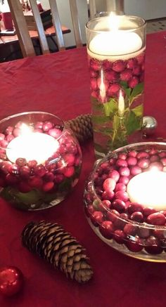 My cranberry and holly Christmas centerpiece.