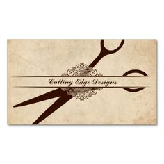 beige textured paper scissors hair stylist shears business card template