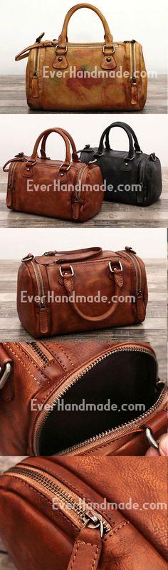 Genuine Handmade Boston Bag Vintage Leather Handbag