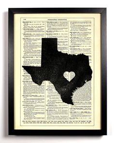 Texas State Dictionary Book Print Upcycled Book Art Upcycled Vintage Book Print Antique Dictionary Buy 2 Get 1 FREE. $6.99, via Etsy.