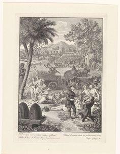 Bernard Picart | Allegorie op de landbouw, Bernard Picart, 1733 | Allegorische titelpagina die het boek Georgica van de dichter Vergilius verbeeld. Op het platteland hebben mannen en vrouwen zich gewijd aan landbouw, het kweken van bomen en de vee- en bijenteelt. In de marge een drieregelig citaat van Vergilius in het Latijn.