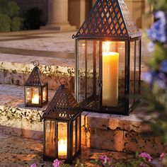Elegant Patio Lighting #lantern #patio #candle