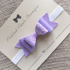Large Glitter and Felt Lavender Bow by pickledpeachbowtique