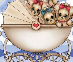 Yorkie babies night Quilt Panel fabric by catiacho on Spoonflower - custom fabric