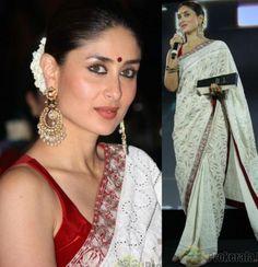Kareena Kapoor Khan in beautiful white traditional chikankari saree by her favorite designer Manish Malhotra https://www.facebook.com/manishmalhotrapage bindi, gajra & chaand-bali (moon shaped earrings) completed her traditional look.