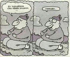Karikatür: - Ey yumurtaya can veren Allahım, - Merhaba... - Yiğit Özgür, Hunili