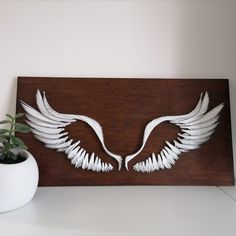 Made to order Guardian Angel Wings  Cool Paper Crafts, Diy And Crafts, Arts And Crafts, Small Beauty Salon Ideas, Angel Wings Drawing, String Wall Art, Macrame Wall Hanging Diy, Thread Art, Decoration