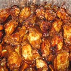 These are amazing.  I make a glaze with the extra sauce and toss at the end.  Teriyaki Chicken Wings.  All recipes