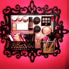 Magnetic Makeup board DIY. Take a picture frame and get sheet metal cut to size. Cover the metal with fabric if you want, then put magnets on the back of your makeup!