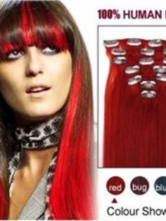 20 Inches Straight Red 7PCS Clip in Remy Human Hair Extensions