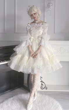 This Time -Moonlight Fairy- Lolita Jumper Dress,Lolita Dresses, Harajuku Fashion, Kawaii Fashion, Cute Fashion, Fashion Outfits, Mode Lolita, Lolita Style, Gothic Lolita Fashion, Fairy Clothes, Dress Sketches