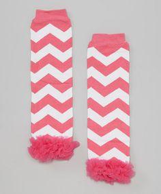Pink & White Zigzag Ruffle-Trim Leg Warmers