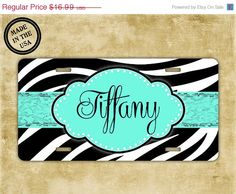 ON SALE Monogrammed license plate, personalized  license plate - zebra print with your name in Tiffany blue - monogrammed zebra car tag (999