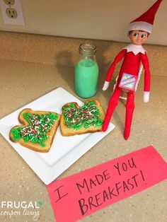 I think this is cute... but I need to figure out something different for on the toast or just use bagels with cream cheese that's colored with food coloring like the milk... Elf Ideas, Holiday Decor, Home Decor, Elf On The Shelf, Shelves, Homemade Home Decor, Shelving, Interior Design, Decoration Home